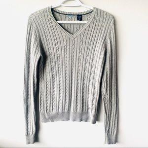Izod small grey long sleeve shirt v-neck sweater
